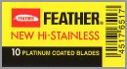 Feather New Hi-Stainless Platinum Coated Double Edge Razor Blades