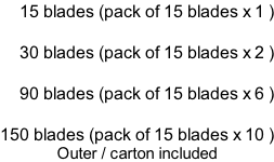 15 blades (pack of 15 blades x 1 )  30 blades (pack of 15 blades x 2 )  90 blades (pack of 15 blades x 6 )  150 blades (pack of 15 blades x 10 ) Outer / carton included